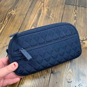 Vera Bradley Navy Quilted Zipper Small Travel  Bag